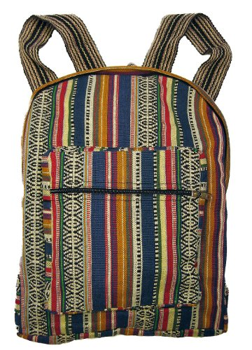 Unisex Blue Woven Cotton Ethnic Hippie Backpack or Daypack By Original Collections