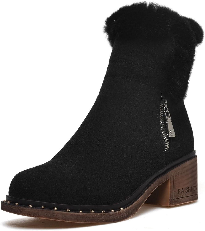 DoraTasia Zipper Genuine Leather Nubuck Women's Winter Ankle High Boots