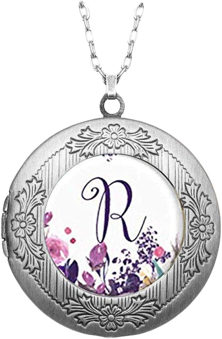 Pink rose Photo Locket, Locket Necklace, Personalized Initial Locket, Photo Jewelry