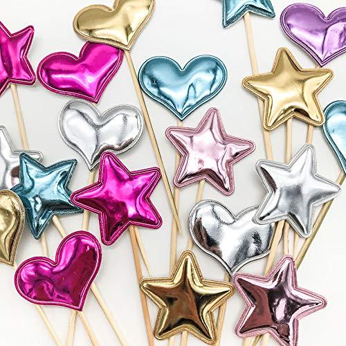 Schneespitze 50 stück Cupcake Toppers,Happy Birthday Decoration,Kuchen Dekorieren Hochzeit Dekor für Hochzeiten, Partys, Essen Dekoration