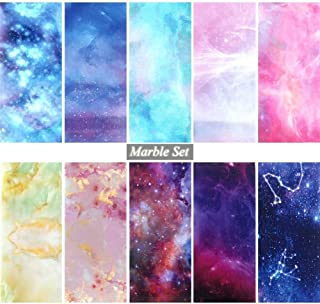 10pcs Gradient Starry Sky Nail Foils Marble Holographic Design Nail Art Transfer Sticker Wrap Decoration Adhesive Decals JI1022 (Color : Marble)