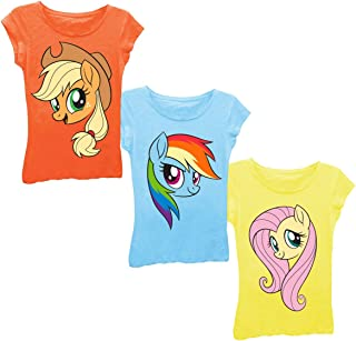 My Little Pony Applejack Rainbow Dash Fluttershy Big Face 3-Pack Tee Bundle