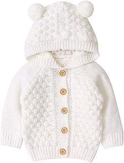 Zesda Cardigan Baby Boys Girls Knit Sweater Hooded Ears Warm Cardigan Coat Tops Long Sleeve Jacket Outwear for 3-24 Months