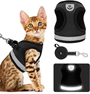 KOOLTAIL Cat Harness Dog Harness and Leash Set - Escape Proof Adjustable Pet Harnesses for Walking, Soft Honeycomb Mesh Cats Puppy Harness with Reflective Strap Provides Safety at Night