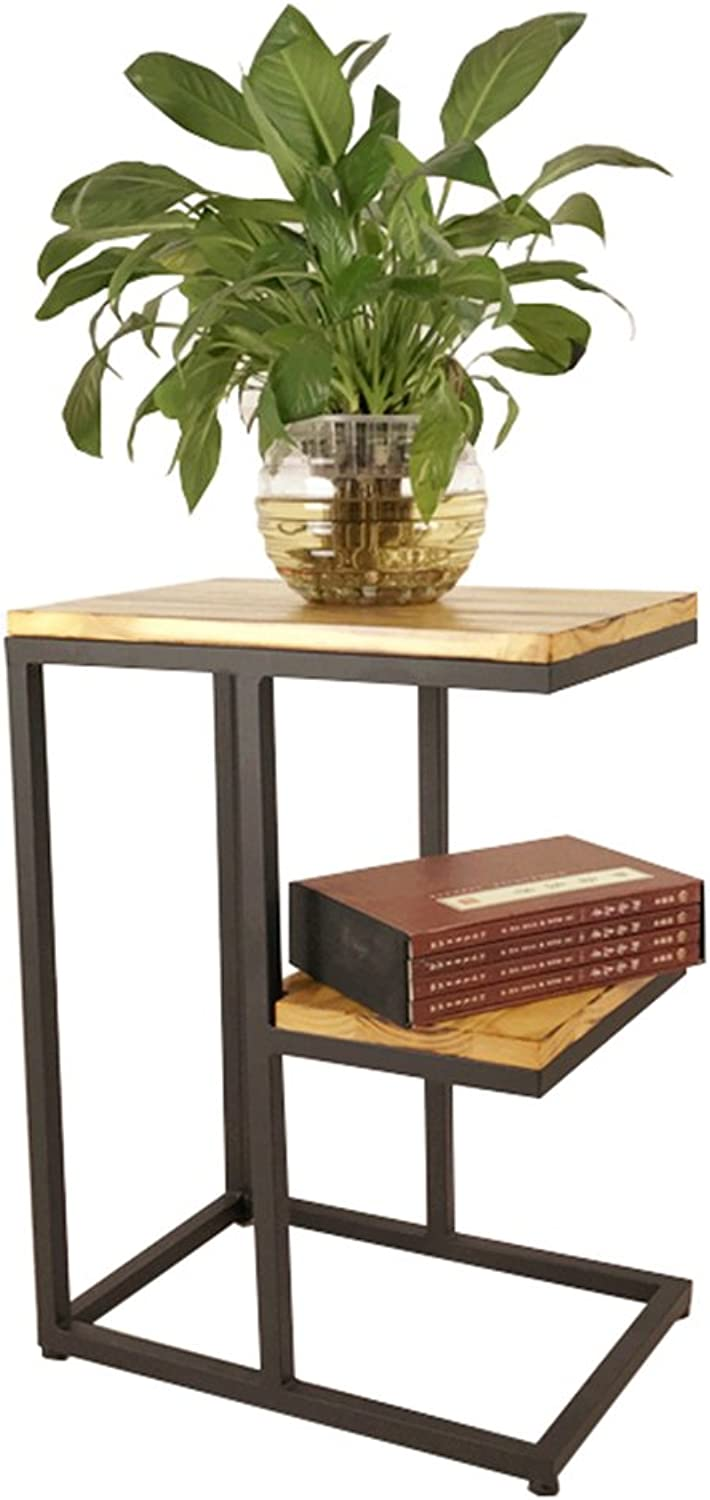 Laptop Table Solid Wood Coffee Table, Black Wrought Iron Three-Story Wrought Iron Small Dining Table Living Room Sofa Table Support