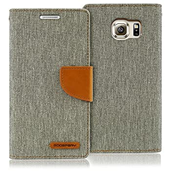 Goospery Canvas Wallet for Samsung Galaxy S6 Case  2015  Denim Stand Flip Cover  Gray  S6-CAN-Gry