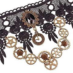 Daimay Choker Lace Necklace Punk Party Gothic Vintage Handmade Lolita Retro Gear Flower Bride Choker for Women – Black Y484 #3