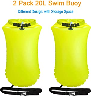 X.Store 2 Pack 20L Waterproof Swim Bouy with Storage Space Inflatable Dry Bag Bright Color Swim Safety Float for Open Water Swimmers, Triathletes, Kayakers and Snorkelers