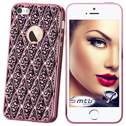 mtb More Energy Funda Glamour para Apple iPhone SE / 5S / 5 - Rosa Claro metálico - Joya Gema TPU Gel Silicona Carcasa Cascara