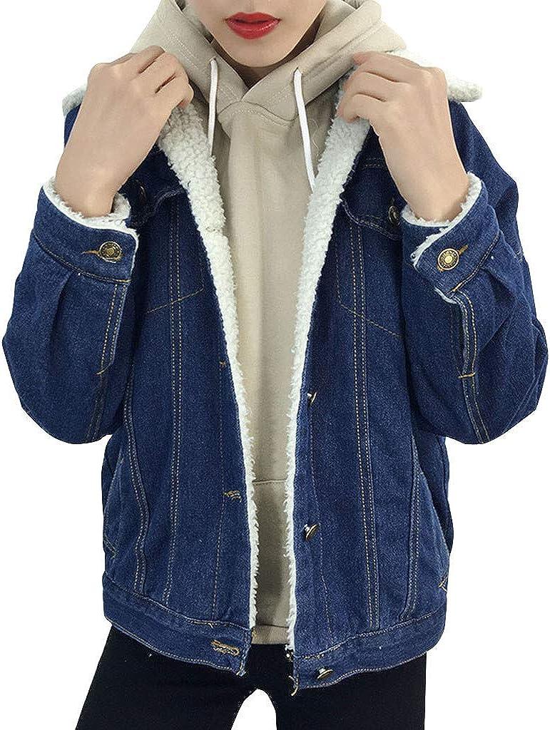 DIOMOR Classic Retro Wool Fleece Lining Denim Jacket for Women Winter Keep Warm Denim Coat Outerwear Jean Overcoat