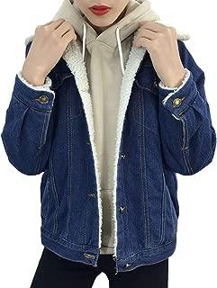 iHHAPY Women's Plush Denim Jacket Oversize Short Jacket Plus Velvet Denim Jacket Leisure Denim Loose Boyfriend Jacket