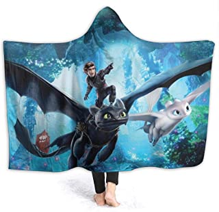 VIMMUCIR How to Train Your Dragon Space Hooded Throw Blanket Warm Wearable Blankets Novelty Cape for Kids 50x60 Inch