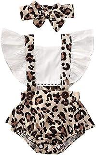 YEBIRAL Neugeborenes Baby Mädchen Leopard Outfits Rüschen Strampler Body Sommer Spielanzug Einteiler Jumpsuit Overalls Kleidung Set mit Stirnband