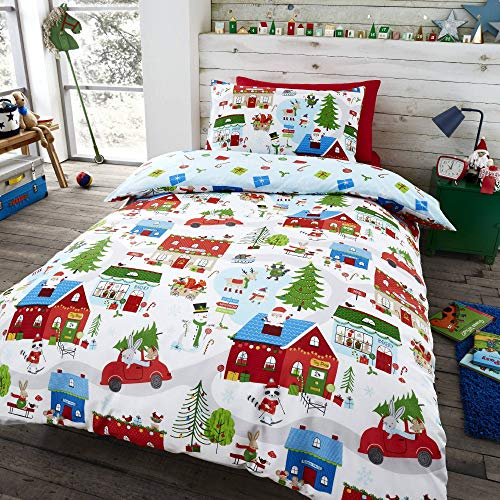 Happy Linen Company Kids Boys Girls Village Christmas Animals Santa White Toddler Reversible Duvet Cover Bedding Set
