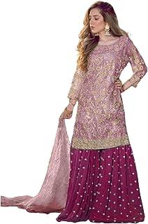 فستان نسائي من Puple لحفلات الكوكتيل وبنطلون ثقيل وقميص. فستان بوليوود إثنيك الهندي باكستاني 6096