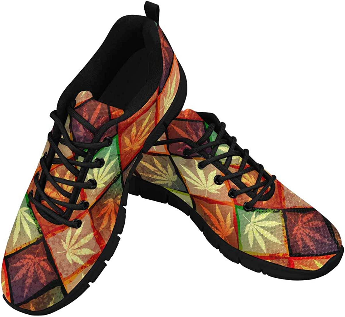 INTERESTPRINT Colorful Hemp Leaves Women's Athletic Mesh Breathable Casual Sneakers Fashion Tennis Shoes