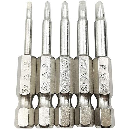 5 Screwdriver Bit Kits Pieces //set Magnetic Triangle Head Bits S2 Steel 1//4 Hex