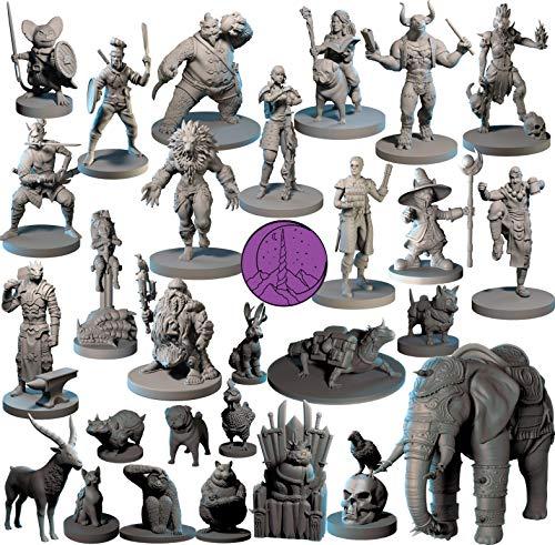 28 miniaturas héroe y animales para miniaturas DND de 28 mm a granel de calabozos y dragones miniaturas I para miniaturas D&D y DND Minis miniaturas de mesa de fantasía y figuras D & D