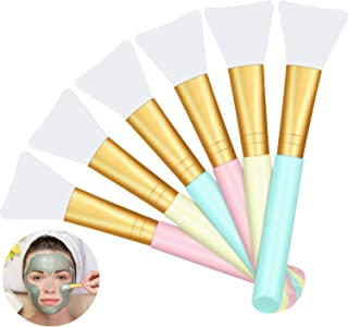 6 Pieces Silicone Face Mask Brushes Soft Facial Clay Mud Mask Applicator Brush for Foundation, Cosmetic Mask, Body Lotion and Body Butter Beauty Tools