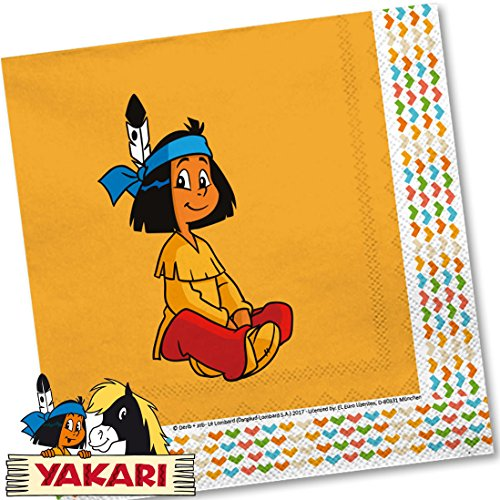 Yakari 20 Servietten Kinderparty und Kindergeburtstag von DH-Konzept // Indianer Indianerjunge Sioux Kleiner Donner Napkins Papierservietten Party Set