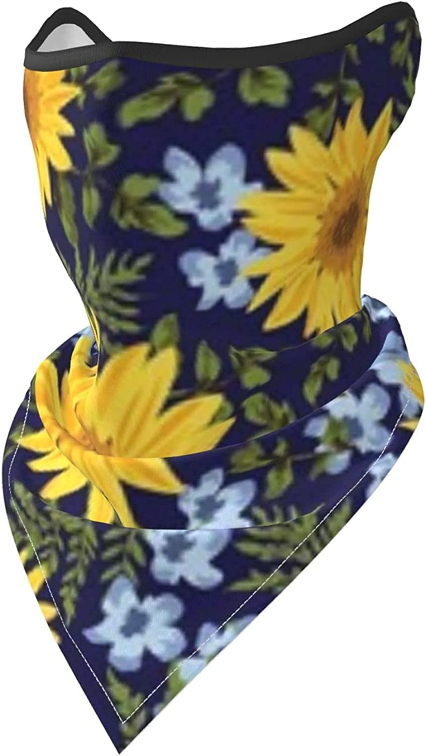 Sunflowers Floral Navy Breathable Bandana Face Mask Neck Gaiter Windproof Sports Mask Scarf Headwear for Men Women Outdoor Hiking Cycling Running Motorcycling