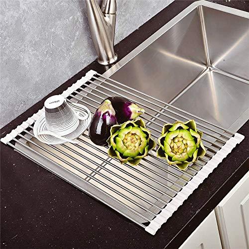 Intrekbare opvouwbare aanrecht spoelbak voor huishoudelijke wasmachine rolluik enkele slot lekkende water controle afvoer mand (43 * 29cm)