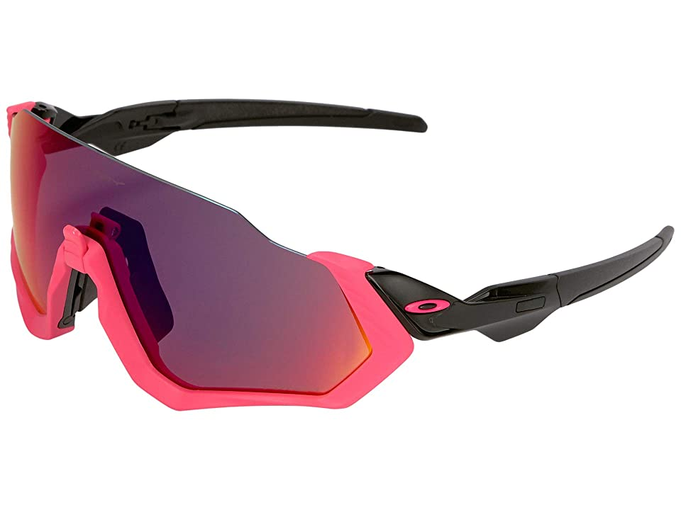 Oakley Flight Jacket (Polished Black/Neon Pink w/ Prizm Road) Sport Sunglasses