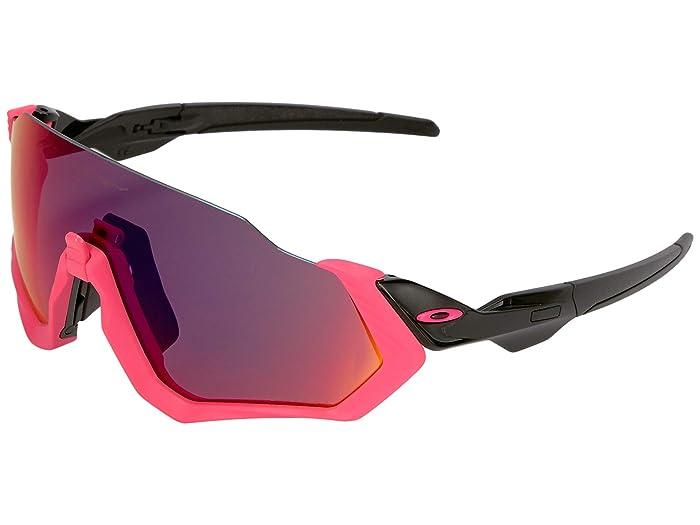Oakley Flight Jacket (Polished Black/Neon Pink w/ Prizm Road) Sport Sunglasses