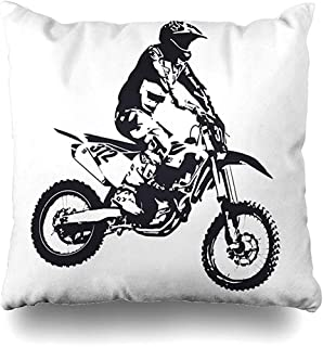 Funda de Almohada Funda de Almohada Bicicletas Motocross Deportes Recreación Salto Humano Moto Motocicleta Piloto Funda de cojín