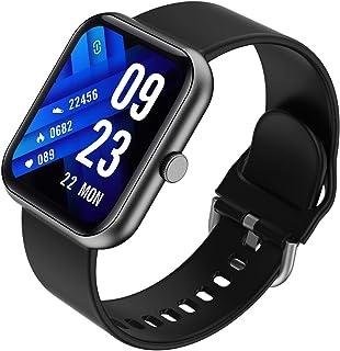 JINQII Relógio fitness inteligente, tela sensível ao toque de 1,7 polegadas, multiesportivo, sensor 3D, pulseira de TPU (p...