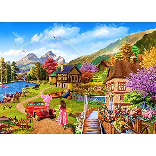 Romantisches Cottage - 1000 Teile,Puzzle 1000 Teile Landschaft, Landschaft Puzzle für Kinder, Kinderpuzzle Spiele ab 14 Jahren, Spielzeug für Kinder Mädchen Jungen, Geschenke für Männer Frauen