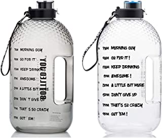 BOTTLED JOY 1 Gallon Water Bottle with Time Marked Suite Products, Tritan BPA Free Water Bottle for Camping Sports Workout...