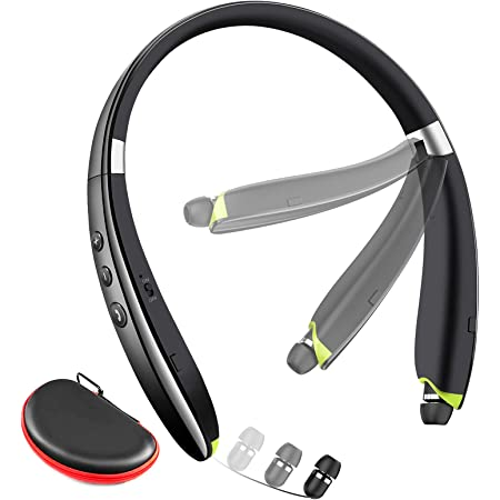 Bluetooth Headphones, Galirity Foldable Bluetooth Headset with Retractable Earbuds, Noise Cancelling Mic Wireless Neckband Earphones for Running, Workout, Gym (with Carry Case)