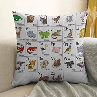FreeKite Educational Printed Custom Pillowcase Alphabet Learning Chart with Cartoon Animals Names Letters Upper and Lowercase Decorative Sofa Hug Pillowcase W18 x L18 Inch Multicolor