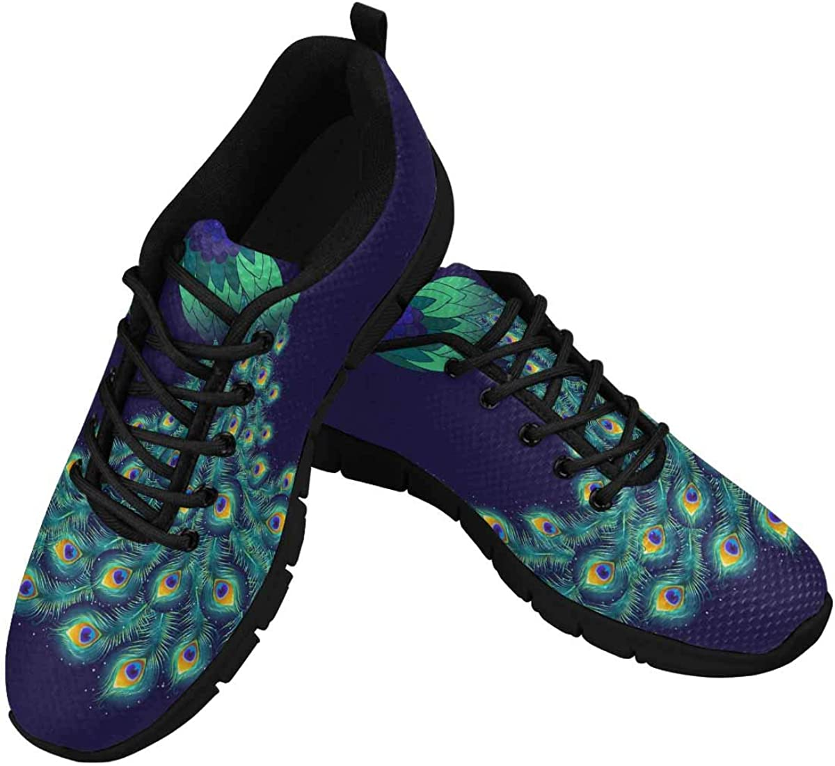 INTERESTPRINT Colorful Peacock Women's Breathable Non Slip Sneakers