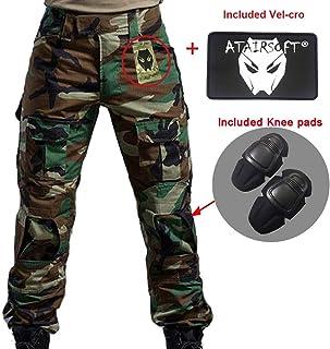 Uniforme de battalla color camuflaje con rodilleras Multicam MC para ej/ército militar Airsoft y Paintball. Pantalones de combate para hombres tipo uniforme BDU tama/ño small