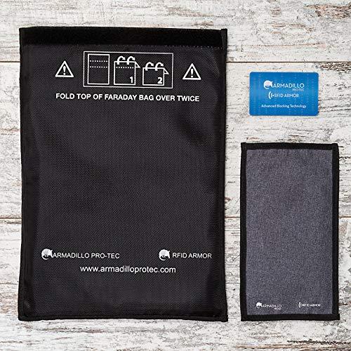Armadillo Pro-Tec Faraday Tassen en RFID blokkeren portemonnee kaart (3 Pc. Set) Bescherm mobiele telefoons, autosleutels, paspoorten, portefeuilles of tablets | Draagbare reisbescherming | NFC, EMP, EMF