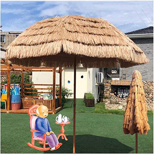 LDJ Sombrilla De Jardín Y Terraza Paraguas Tiki De Paja De Rafia, Protección UV Exteriores Sombrilla Portátil Mercado Mesa Paraguas Color Natural 1.6m