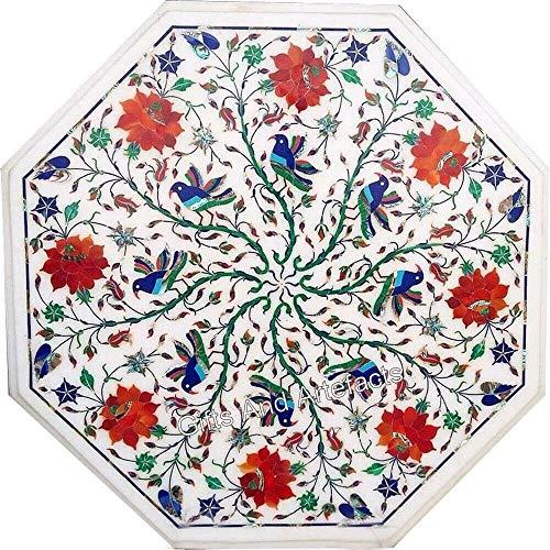Mesa esquinera de mármol blanco con diseño floral para añadir aspecto real a tu hogar en 45,7 cm
