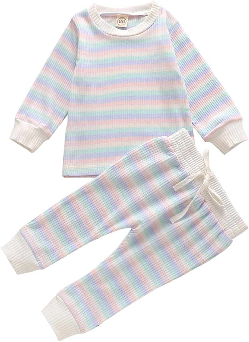 JEELLIGULAR 3 Colors Infant Kids Toddler Girl Clothes Ribbed Fabric Striped Top Shirt+Pants Set Outfits Fall Winter
