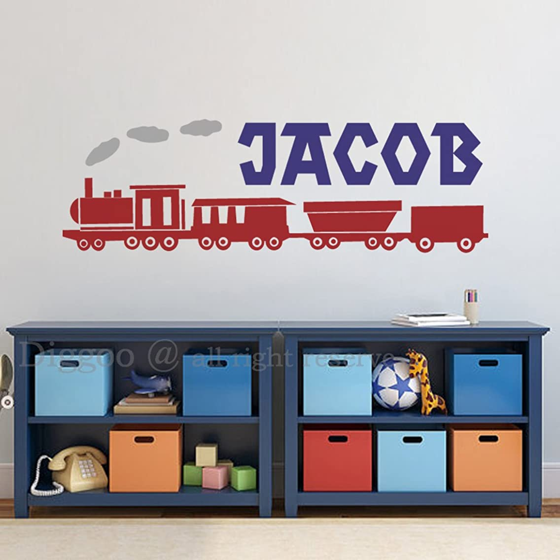 Train Name Wall Decal Set, Train Wall Decals for Boys, Train Nursery, Personalized Name Vinyl Wall Decal (14