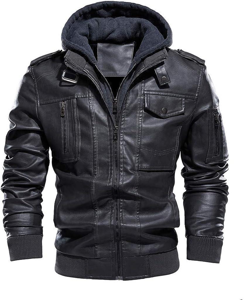 Men Leather Jackets,Vintage Classic Leather Zip Up Biker Bomber Jacket V1779