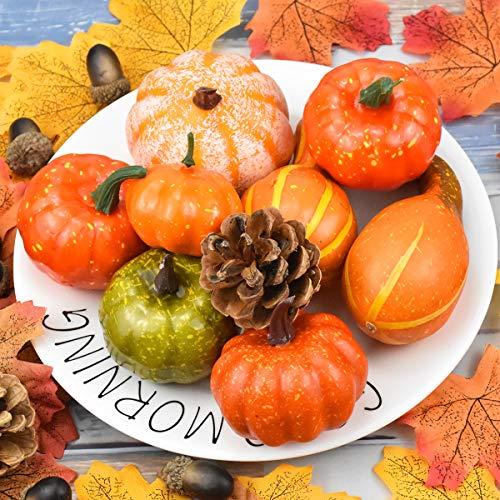 Jinlaili 50PCS Zucche e Zucca Artificiali, Pigne, Ghiande, Foglie di Acero, Decorazioni per Halloween e Ringraziamento, Ornamenti a Tema Autunno per la Casa/Matrimonio/Feste Decorazioni