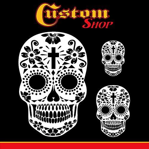 Custom Shop Airbrush Sugar Skull Day of the Dead Schablonen-Set (Totenkopf-Design #15 in 3 Maßstäben) – Lasergeschnittene wiederverwendbare Schablonen