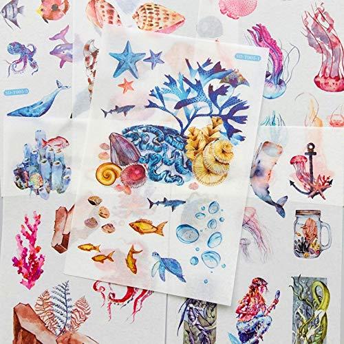 PMSMT 6 Hojas/Paquete Submarino Ballena Concha Sirena Medusa Papel Pegatina DIY álbum decoración