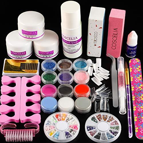 Coscelia Kit Herramientas Uñas con Polvos Kit Completo de Uñas Postizas Polvo para Uñas y Líquido 75ml Pincel de Uñas Limas