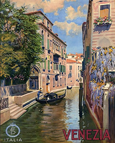 "16"" X 20"" Venice Gondola Venezia Italia Italy Italian Travel Tourism Vintage Poster Repro Standard Image Size for Framing. We Have Other Sizes Available!"