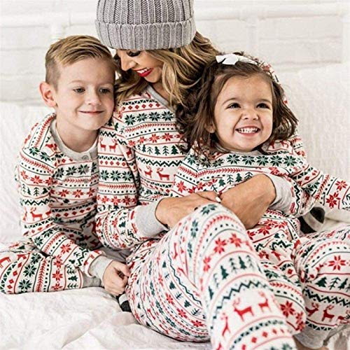 Auagvien Pijamas De Mujer Navidad, Pijama Parejas, Pijamas De Navidad Familiar, Navidad Familia A Juego Pijamas Blancos Adultos Bebé Familia Pijamas Deer Romper Familia (Size : Mom S)