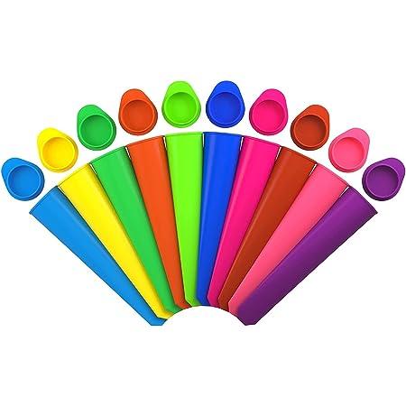 iNeibo Stampi per Ghiaccioli Stampo Gelato in Silicone di Alta Qualità priva di BPA set Formine per Ghiaccioli (Set da 10)