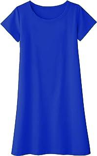 Kids Girls Cotton Short Sleeve Solid Casual T-Shirt Dress Blue